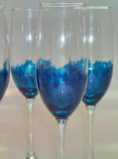 Hand Painted Champagne Flutes set of 4 by GingerGirlAdorned