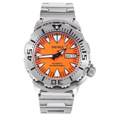 Genuine Seiko Watches like Seiko Japan Made Orange Monster Divers Men's Watch has Stainless Steel Case, Stainless Steel Bracelet, Automatic Movement, Scratch Resistant Hardlex Crystal Glass Seiko 5 Sports Automatic, Seiko Automatic, Cool Watches, Watches For Men, Seiko Marinemaster, Seiko Monster, Watch Blog, Seiko Diver, Authentic Watches