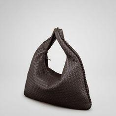 """Bottega Veneta Ebano Intrecciato Nappa Large Veneta style 115654 V0016 2072 Inspired by the shape of the timeless hobo, the traditional Veneta is a signature element of Bottega Veneta's handbag collection. Its concave armhole and flattened, minimalist body are balanced by a substantial handle, making it both roomy, comfortable as well as distinctive.  Lining:Suede Dimensions:20.1"""" W x 19.7"""" H x 2"""" D"""