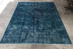 """Another interesting one w/ popm poms. 10'8"""" in length, so two inches shorter than the striped one. Pom PomParliament Blue Anatolian Vintage Carpet by EclecticRug"""