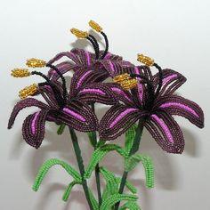 Beaded Flowers Arrangement Three Lilies in Purple by Craftymoose, $15.00