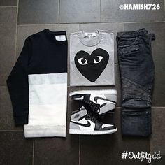 Today's top #outfitgrid is by @hamish726. #MatthewMiller #Sweater, #CDGPlay #Tee, #Jordan1 #Barons, and #Balmain #Denim #flatlay #flatlayapp #flatlays @flatlayapp www.theflatlay.com