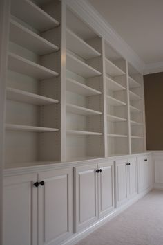 Great shelves, good use of the cornicing to cover the top gap - could to the same to the shelves in the playroom?