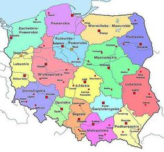 Map of Poland - showing Polish provinces Poland Language, Poland Map, Poland Culture, My Ancestry, Polish Recipes, My Heritage, Culture Travel, Homeland, Family History