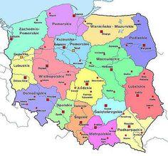 Map of Poland - showing Polish provinces