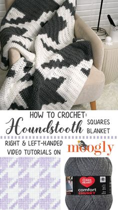 Crochet your own Houndstooth Squares Blanket with the Moogly video tutorial! Featuring Red Heart Comfort Chunky!