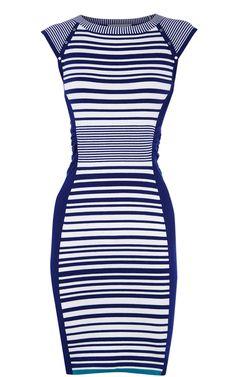 Karen Millen Stripe Knit Dress Blue