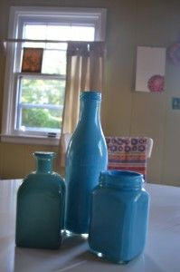 Painting and reusing bottles for decoration or small bud vases