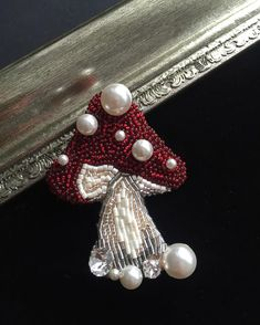 * bead embroidery brooch mushroom beaded brooch