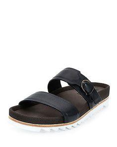 b58c4d99a6f NIB Salvatore Ferragamo Mens Lock Navy Blue Leather Slide Sandals 11 44   495 Mens Slide Sandals