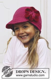 Children - Free knitting patterns and crochet patterns by DROPS Design Bandeau Crochet, Crochet Cap, Crochet Girls, Love Crochet, Crochet For Kids, Diy Crochet, Crochet Hat With Brim, Crochet Beanie, Knitted Hats