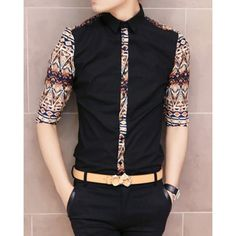 $17.45 Stylish Shirt Collar Slimming Retro Ethnic Splicing Three-Quarter Sleeve Men's Polyester Shirt
