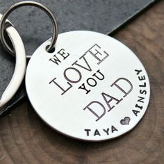 Custom Silver Keychain Personalized Dad by 2sistershandcrafted