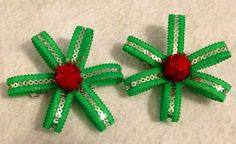 Green Sequin and Pom-pom Holiday Hairbows (pair) on Etsy, $6.00