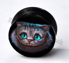 18mm 11/16 Pair Alice in wonderland Cheshire cat double flared acrylic screw on ear gauges - plugs - tunnels. $10.99, via Etsy.