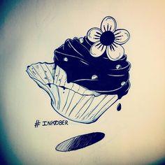 "Inktober // Day 20 ""Cupcake"" #inktober #inktober2015 #sketch #sketchbook #cupcake #flower"