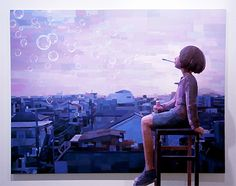 Japanese artist Shintaro Ohata places sculptures in front of paintings and creates unique three-dimensional art.