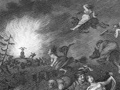 """Sorcières chevauchant leur balai et se dirigeant vers le bouc - Lié au poème """"Départ pour le Sabbat"""", dans """"Gaspard de la nuit"""", d'Aloysius Bertrand."""
