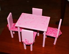 DIY Barbie dining room table & chairs. This was a first try, I'm going to get better wood & make a better one.