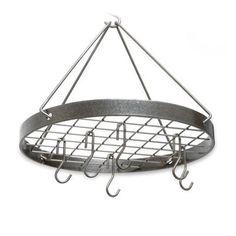 Cottage Round Rack w/ 6 Hooks Hammered Steel