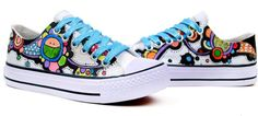 Color Story Series Hand painted shoes Painted Canvas Shoes,Low-top Painted Canvas Shoes