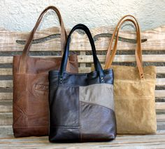 Uptown Redesigns: New and Improved Uptown Tote Design - Handmade Upcycled Leather Totes
