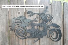 Harley Davidson Soft Tail Steel Motorcycle cut out. $65.00, via Etsy.