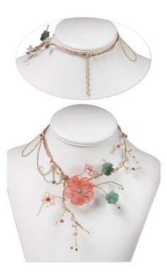 Single-Strand Necklace with Swarovski Crystal Beads, Gemstone and Shell Carved Focals and Wirework