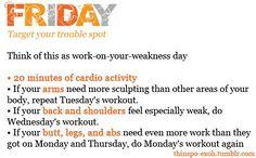Monday – Friday Workout Plan   thetwentysomethingblog