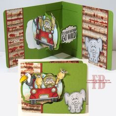 Hi everyone, I have another Sizzix Label Window Card to share with you today. As I had the dies on my desk from the card I shared . Boy Cards, Kids Cards, Safari Jeep, Pop Up, Swing Card, Doodle Doo, Window Cards, Die Cut Cards, Party Animals