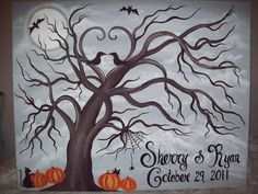 Halloween Wedding guestbook tree Canvas150170 by CottageCreekArts, $130.00