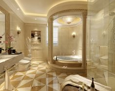 Beau Bathroom:Luxurious Bathrooms With Stunning Design Details Ceramics Full  Area Floor White Acrylic Bathtub Natural Glass Wine Brown Glass Wine Bottle  Nickel ...