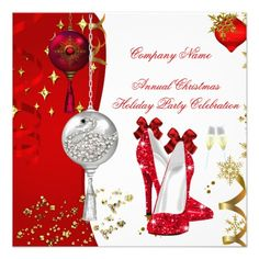 Holiday Christmas Party Champagne Heels Personalized Invitations