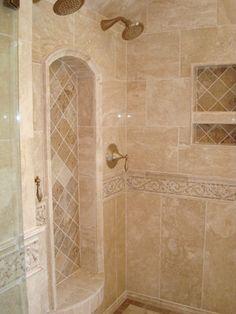 Bathroom Ideas Travertine travertine tile bathtub surround idea - brushed nickel fixtures