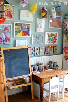 21 Ways to Display Kids Artwork - Children's Art Gallery at Imagination Tree Kids Art Space, Kids Art Area, Kids Art Corner, Kids Art Station, Kids Art Table, Craft Corner, Corner Desk, Displaying Kids Artwork, Artwork Display