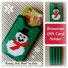 "Plastic Canvas: Snowman Gift Card Holder (Design No. 2, Etsy) -- 'Ready, Set, Sew!"" by Evie"