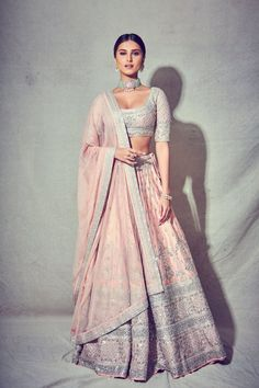 Tara Sutaria graced Armaan Jain's wedding in a gorgeous pink lehenga Indian Ethnic Wear Outfit Designer, Indian Designer Outfits, Indian Lehenga, Lehenga Choli, Anarkali, Saree, Lehenga Designs, Dress Indian Style, Indian Dresses