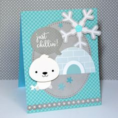 Just Chillin! - Scrapbook.com - Sweet little winter card featuring the Polar Pals collection from Doodlebug Design