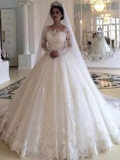 Ball Gown Wedding Dress with Long Sleeves, Fashion Custom Made Bridal Dresses, P. - Ball Gown Wedding Dress with Long Sleeves, Fashion Custom Made Bridal Dresses, Plus Size Wedding dress Source by - Princess Style Wedding Dresses, Royal Wedding Gowns, Long Wedding Dresses, Wedding Dress Styles, Bridal Dresses, Gown Wedding, Wedding Colors, Tulle Wedding, Princess Bridal