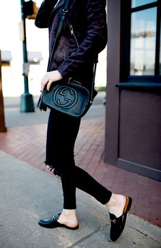 Edgy Classic French Girl style: loafer mules, knee hole jeans, Gucci crossbody bag