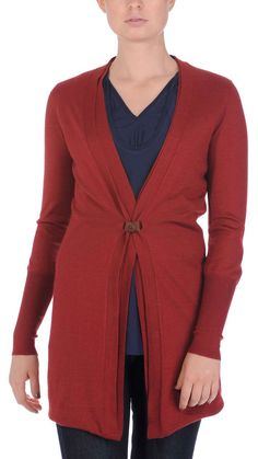 Long sleeve cardigan, contrast leather band closure, 70% cashmere, 30% silk.