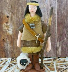 Shepherd Doll Miniature and His Sheep Nativity by UneekDollDesigns, $39.00