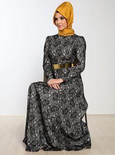 Dantel Kaplama Elbise - Krem - Mustafa Dikmen