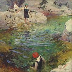 Dame Laura Knight, R. Bathing - signed 'Laura Knight' (lower right) - oil on canvas. Georges Seurat, English Artists, British Artists, Famous Artists, Mary Cassatt, Impressionist Art, Western Art, Beautiful Paintings, Classic Paintings