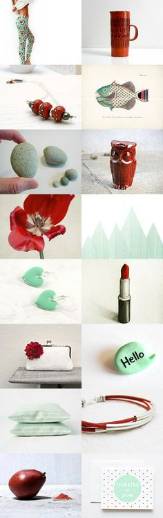 paprika red and mint by Barbara on Gift Guide, Fashion Accessories, Mint, Trends, Etsy, Home Decor, Decoration Home, Room Decor, Home Interior Design