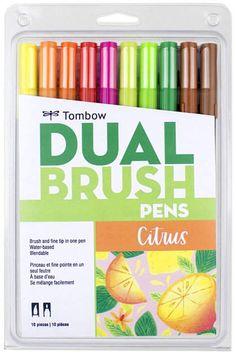 Tombow 56196 Dual Brush Pen Art Markers, Citrus, Blendable, Brush and Fine Tip Markers Brush Pen Art, Tombow Dual Brush Pen, Marker Paper, Marker Art, Brush Lettering, Hand Lettering, Tombow Markers, Pen Sets, School Supplies