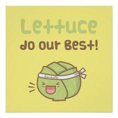 Cute Lettuce Do Our Best Vegetable Pun Humor Poster