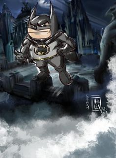 """Batman in Gotham. Created with """"Procreate"""" for iPad (the best app for painting) Superhero Baby Shower, Gotham, Master Chief, Make Me Smile, Baby Kids, Ipad, Batman, Babies, Thoughts"""