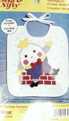 Janlynn Baby Bib Kit Stamped Cross Stitch Humpty Dumpty Neat Nifty 143 24 USA | eBay