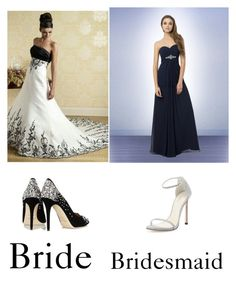 Bride and bridesmaid dresses and shoes by bryanabeining on Polyvore featuring polyvore, fashion, style, Stuart Weitzman, Jimmy Choo and Bill Levkoff
